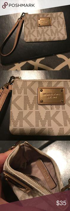 Michael Kors wristlet MK wristlet  Cream with brown MK letters Gold metal Michael Kors Bags Clutches & Wristlets