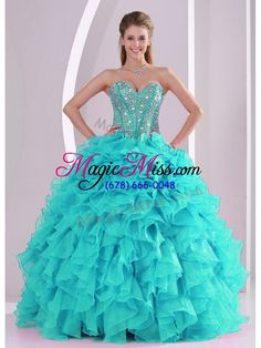 wholesale elegant aqua blue ball gown sweetheart ruffles and beaded decorate quinceanera gowns in sweet 16