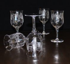Lovely, Set of 5, Antique, Central Glass Works, Thistle, Optic, Etched Water Goblets