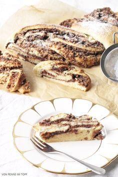 Penne im Topf: butterreicher Hefeteig - Striezel mit Schokoladen - Nuss…