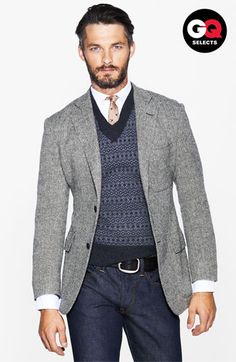 Todd Snyder Herringbone Sportcoat, Sweater Vest, Tie, and Corduroy Pants. Sharp Dressed Man, Well Dressed Men, Looks Style, Casual Looks, Gq Style, Nordstrom, Mens Wardrobe Essentials, Men's Wardrobe, Bon Look