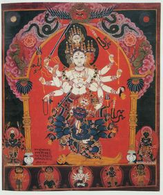 """Siddhalakshmi, Goddess of Power Nepal; Pigment on cloth. The inscription written at the lower left of this painting reads: """"Oh mother goddess, cast compassionate eyes upon my children. This is a respectful request to you from me, Shri Gangadhara Sharma."""""""