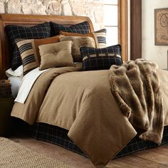 Ashbury Log Cabin Bedding collection is rustic elegance at its best. This richly detailed log cabin bedding set combines deep shades & stunning neutrals.