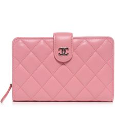 CHANEL Lambskin Quilted Compact Zip Wallet Pink