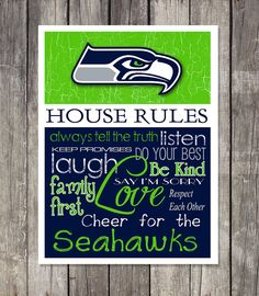 Wall art https://www.etsy.com/listing/182451843/seattle-seahawks-house-rules-art-print