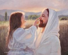 Jesus Christ – Gentle Touch Painting | A fine art painting of a young girl gently playing with Christ. Painting by Karen Foster. Many sizes available framed or as a canvas wrap or single print.