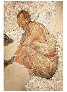 6th century Byzantine Roman mosaics of a man from the peristyle of the Great Palace from the reign of Emperor Justinian I. Istanbul, Turkey.  | © Paul Randall Williams 2012