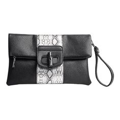 6517004783e Print Color Block Clutch Bag Black (1.235 RUB) ❤ liked on Polyvore  featuring bags