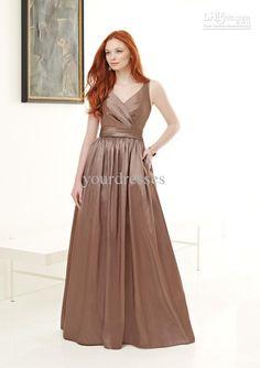 Wholesale Bridesmaid Gown - Buy A-line V-neck Long Bridesmaid Gown Taffeta Spaghetti Straps, $95.45 | DHgate