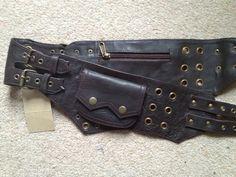 Dark Brown LEATHER utility belt POCKET BELT fanny by Gekkoonline, £45.00