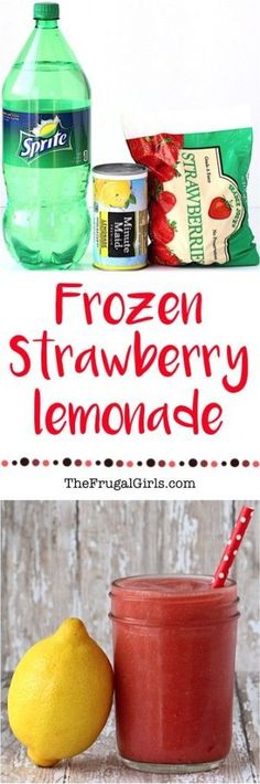 A Recipe for Frozen Strawberry Lemonade Strawberries are officially, hands down my FAVORITE fruit! They make for the perfect excuse to blend up this easy Frozen Strawberry Lemonade Recipe! This tasty treat is the perfect way to cool off on Refreshing Drinks, Fun Drinks, Yummy Drinks, Healthy Drinks, Cold Drinks, Party Drinks, Healthy Dinners, Fruity Drinks, Healthy Food