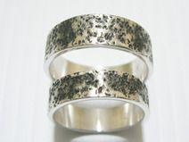 Paarringe Stein Struktur Ringe mit Wunschgravur