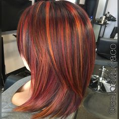 Sunset Balayage Red Hair Color With Blood Orange Highlights Shadow Root Medium Length Long Bob