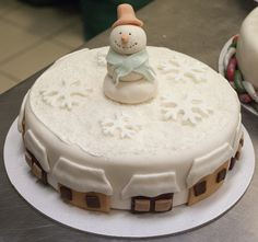 Frosty Christmas cake with icing snowflakes