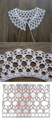 "Really pretty collar,and one of the easier ones to crochet! [ ""Really pretty collar,and one of the easier ones to crochet!"", ""Ez is gallér"", ""Crochet lace with chart"" ] # # # # # # # # # Crochet Collar Pattern, Col Crochet, Crochet Lace Collar, Crochet Diagram, Crochet Chart, Thread Crochet, Lace Knitting, Crochet Motif, Crochet Doilies"
