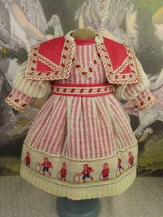French mariner/sailor antique doll dress of red satin and creamy from stairwaytothepast on Ruby Lane