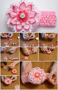 Here's the link to the tutorial >> How to Make Ribbon Rose Bandage << by Оксана Дмитриева Diy Lace Ribbon Flowers, Kanzashi Flowers, Ribbon Art, Ribbon Hair Bows, Ribbon Crafts, Flower Crafts, Crochet Flowers, Fabric Flowers, Hair Flowers