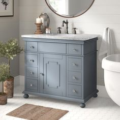 Charlton Home Francisco Single Bathroom Vanity Set Base Finish: White Zen Bathroom, Single Bathroom Vanity, Bathroom Colors, Bathroom Storage, Small Bathroom, Bathroom Vanities, Bathroom Ideas, Basement Bathroom, Bathroom Plants