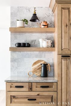 Looking for white and wood kitchen inspiration? Tour my parents' new, beautiful, rustic-transitional kitchen with two toned kitchen cabinets! Two Tone Kitchen Cabinets, Wood Cabinets, Kitchen Cabinets And Backsplash, Kitchen Tiles, Farmhouse Style Kitchen, Modern Farmhouse Kitchens, Kitchen Triangle, Best Kitchen Design, Ikea