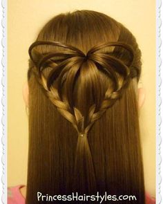 """Hair tutorial of the week! The """"3d half up #heart hairstyle."""" Video instructions on YouTube at #hair4myprincess (link in profile.)"""