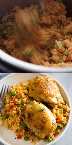 Instant Pot Chicken and Rice Instant Pot Chicken and Rice is a delicious Spanish rice recipe made with bone in chicken thighs, rice, and spices, all cooked together for a complete meal! It's my new favorite instant pot dinner recipe! Instant Pot Dinner Recipes, Healthy Dinner Recipes, Rice Recipes, Cooking Recipes, Cooking Ideas, Cooking Time, Recipies, Chicken Thigh Recipes, Chicken Thighs And Rice Recipe