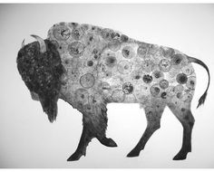Bison 22X30 (Original Ink Bubble Drawing) by VIZart
