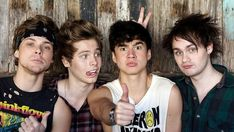 Young Aussie rockers ... Five Seconds Of Summer are, from left, Luke Hemmings, Ashton Irwin, Calum Hood and Michael Clifford.