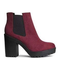 Chunky platform boots with elasticized side panels in burgundy red. | H&M Shoes