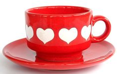 West German 70s heart cup and saucer