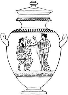 Ancient Greece Coloring Pages Ancient Vase Clip Art Sketch Greek Drawing, Ancient, Culture Art, Ancient Vase, Art, Greek Vases, Clip Art, Greece Drawing