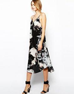 Aryn K Printed Silk Maxi Dress