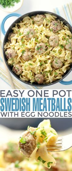 healthy food recipes chiken dinner cooking Easy One-Pot Swedish Meatballs with Egg Noodles - your family will love this swedish inspired family meal. This is such a delicious dinner recipe. Egg Noodle Recipes, Beef Recipes, Cooking Recipes, Healthy Recipes, Veggetti Recipes, Tilapia Recipes, Mexican Recipes, Recipes With Egg Noodles, Meatball Recipes