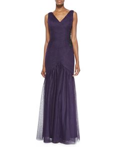 T8FEY ML Monique Lhuillier V-Neck Tulle Gown