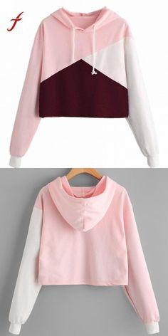 0d8b85f400d Autumn sweatshirts womens 2018 cut sew panel crop hoodie drawstring crop  sweatshirt jumper pullover tops sudadera mujer  women  hoodies