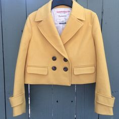 Anthropologie Luisa yellow cropped wool blazer! Cartonnier for Anthropologie Luisa goldenrod crop coat blazer! Size XS. 60% wool, 30% polyester 10% viscose. Arm length measures 20.5 inches and length measures 16 inches and shoulder to shoulder is 15 inches. Chest is 18.5 inches. Gently worn, excellent condition! Bundle and save! Anthropologie Jackets & Coats