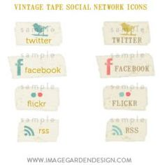 vintage tape social network icons