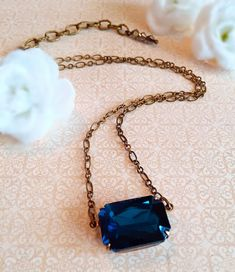 Art Deco Necklace - Victorian Jewelry - Teal Crystal Necklace - Sideways Necklace - Bridesmaid Necklace - LANCASTER Teal