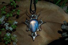 christmass gift statement necklace Opal gemstone by CalistoBreeze