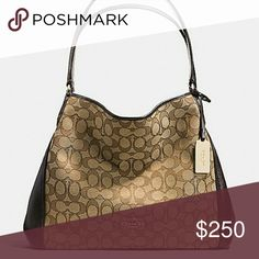 """NWOT Coach Shoulder Bag Signature jacquard Inside zip, cell phone and multifunction pockets Zip-top closure, fabric lining Handles with 9 1/2"""" drop 13 3/4"""" (L) x 10"""" (H) x 5 3/4"""" (W) Coach Bags Shoulder Bags"""