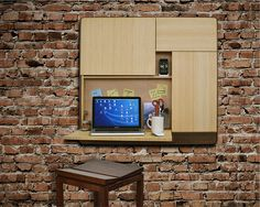 a wall-mounted desk and laptop storage, space for mail and files, and a charging station for your gear & a built-in sound system.