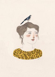 Lizzy Stewart: Bird Girl Greeting Card