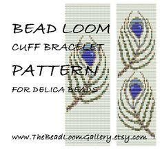 Bead Loom Cuff Bracelet Pattern Vol.46 - Peacock Feathers - PDF File PATTERN