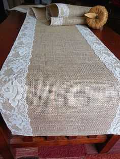 Burlap table runner with vintage nude lace wedding table runner rustic romantic wedding