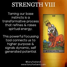 Taming our base instincts is a transformative process that refines & raises spiritual energy. This powerful focussing tool connects us to higher purpose & signals dynamic, self generated potential. Major Arcana Cards, Tarot Major Arcana, Kitchen Witch, Tarot Cards For Beginners, Psychic Development, Tarot Card Meanings, Tarot Readers, Palmistry, Tarot Spreads