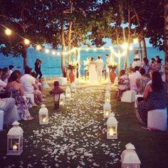 Lake wedding with lanterns. :)