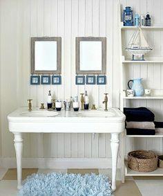 Superb Badezimmer Deko Ideen Shabby Teppich Blau