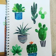 Cacti painting. #drawing #cacti #cactilove #watercolours #doodles