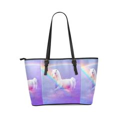 Unicorn and Rainbow Leather Tote Bag/Large. FREE Shipping. FREE Returns. #bags #unicorn