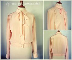 Vintage peach pastel pink shirt blouse by SwellDameBoutique