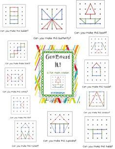 First Grade Blue Skies: Ta-Dah! GeoBoard It! Math Station Pack and a Freebie! Math Classroom, Kindergarten Math, Teaching Math, Math Stations, Math Centers, Work Stations, Math Games, Math Activities, Math Tubs